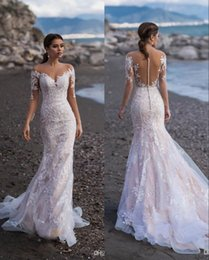 beach wedding dresses trumpet NZ - 2019 Modest Mermaid Lace Wedding Dresses Vintage Long Sleeve Trumpet Beach Bohemian Plus Size Bridal Gown