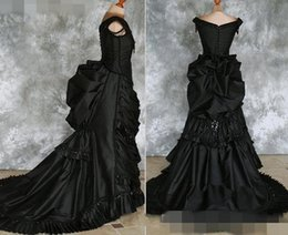 victorian gothic princess ball gown Australia - Taffeta Beaded Gothic Victorian Bustle Gown with Train Vampire Ball Masquerade Halloween Black Wedding Dress Steampunk Goth 19th century