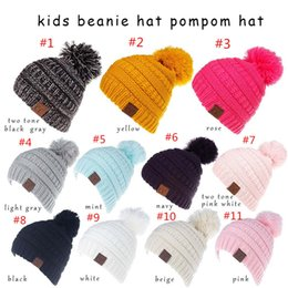 Kids CC Beanies Pompom CC hats Knitted Caps Fashion Visor Cup Girls women Winter  Warm Hat Weave Beanies Hat 11 Colors 0c16fec5b78d