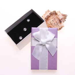 wholesale boxes packaging NZ - 18Pcs Purple&White Jewelry Packaging Box Ribbon Bowknot Gift Case Boxes Display Elegant Christmas New Year Valentine's Day