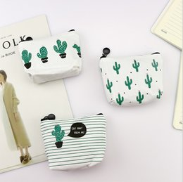 Small Shoulder money bag online shopping - ladies Cactus printed purse cute small zipper canvas bags new style money small coin pouch