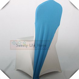 chair hoods sashes Canada - Factory price Lycra chair sashes Blue spandex elastic chair cap hood fit for banquet party chair COVERS decorations