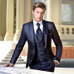 Navy Suits For Sale Australia - Hot Sale Men Suits Slim Fit Peaked Lapel Wedding Suits For Men With Jacket Vest And Pants Cheap Groom Tuxedos One Button Blazers