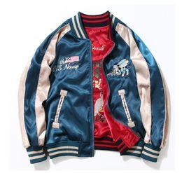 Wholesale embroidered women s jackets resale online – Harajuku Style Yokosuka Embroidered Jacket Retro Thin Jacket Couple Double sided Baseball Flying Suit Men and Women