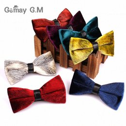 classic bowties Australia - High Quality Velve Bowties For Men Brand Male Classic Solid Bow Tie Necktie For Business Wedding Neckwear Bowtie Gravat Y5QH#