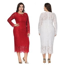 $enCountryForm.capitalKeyWord Australia - Fashion Sexy Women long dress Ladies Elegant 6XL plus size Long Sleeve Bodycon Slim Dress White Lace Dress Party Dresses