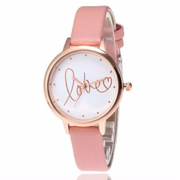 thin leather watch for women NZ - fashion love pattern rose gold dial small thin leather watches for women ladies leisure casual dress quartz gift wrist watches