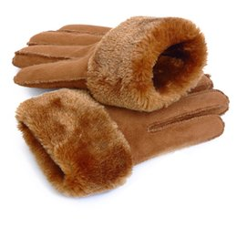 $enCountryForm.capitalKeyWord Australia - Hot Sale Women Men Cashmere Gloves Imitation Leather Fashion Female Full Finger Suede Mittens Unisex Winter Warmer Wrist Gloves