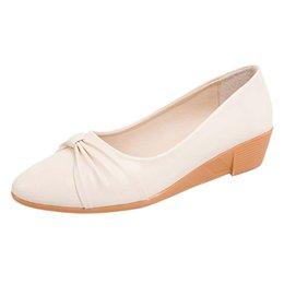 Ingrosso Scarpe eleganti Muqgew Fashion Aumentato Primavera Scarpe donna Casual Bow Peas Mocassini in pelle Slip-on Single Zapatos Mujer # 1219