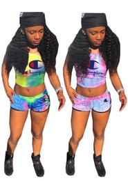 a45a0c70987 Summer Champions Letter Women Tracksuit Vest Tank Crop Top + Shorts 2 Piece  Sports Set Gradient Color Outfit Fashion Sweat Suit 3xl