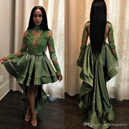$enCountryForm.capitalKeyWord Australia - 2018 Special Design High-Low Prom Dresses High Neck Long Sleeve Brilliant Sequins Green Elastic Satin Party Dresses Evening Gowns
