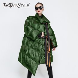 Discount longest weave length - TWOTWINSTYLE Patchwork Ribbons Irregular Women's Down Jacket Lapel Collar Long Sleeve Warm Cotton Coats Female Autu