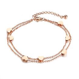 $enCountryForm.capitalKeyWord UK - High Quality 2018 Trendy Rose Gold Color Anklets Bracelet on The Leg For Women Fashion Chian on Foot Girl Beach Ankle Bracelets