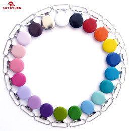garment pack Australia - Free Shipping 50 pcs Sutoyuen 1'' 25mm 21 Colors Round Pacifier Clips   Garment Enamel Metal Suspender Clips Baby Dummy Holder