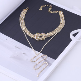 $enCountryForm.capitalKeyWord Australia - Luxury Chic Necklace Chokers for Women Female Gold Silver Multilayer Full Diamond Neck Clavicle Chain Necklaces Drop Shipping