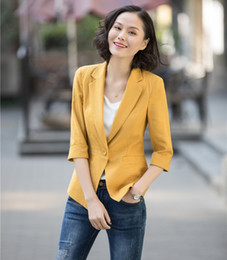 $enCountryForm.capitalKeyWord NZ - New 2019 Casual Ladies Yellow Blazers Women Outerwear Jackets Half Sleeve Office Ladies Work Wear Business Clothes