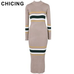 High Street Dresses NZ - Chicing High Street 5 Color Knitted Striped Dress Women 2018 Stretch O-neck Long Sleeve Bodycon Mid-calf Dress Vestidos A1608042 Y19012201
