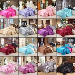 Pink Silk Bedding Sets Australia - Solid color Satin Silk Soft Cotton 3 4 Pcs Bedding set Queen size Bedspread Quilted Bed Cover Sheets Blanket Set