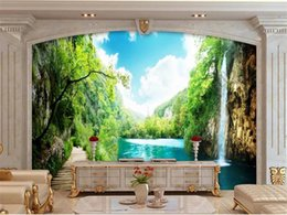 small room beds NZ - Custom size 3d photo wallpaper mural living room bed room small bridge waterfall picture sofa TV backdrop wallpaper mural non-woven sticker