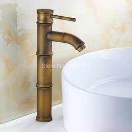 Lever Sets Australia - Antique Brass Bamboo Style Single Lever Handles Bathroom Vessel Sink Basin Faucet Mixer Taps aan035