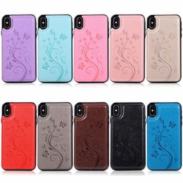 iphone card box case 2019 - Flower Butterfly ID Card Box Pocket Case For For Iphone XR XS MAX 8 7 6 Samsung S10 S10e S9 Magnetic Slot Soft TPU Leath