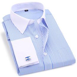 $enCountryForm.capitalKeyWord NZ - High Quality Striped Men French Cufflinks Casual Dress Shirts Long Sleeved White Collar Design Style Wedding Tuxedo Shirt 6xl T219053101