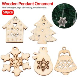 wholesale carved wood pendants Australia - Xmas decoration 50pcs Natural Wood Chip Ornaments Pendant Decorations with Hole Embellishments Christmas Carve DIY Crafts