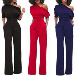 Blue Chiffon Jumpsuits Australia - Fashion Women Sexy One Shoulder Chiffon Short Sleeve Clubwear Long Loose Playsuit Party Jumpsuit & Romper Chiffon Long Jumpsuits