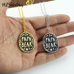 Enamel Chain Wholesale NZ - 2019 NEW Papa Bear Enamel Pendant Necklace Moon Stars Chain Father's Day Gifts Love Papa Pendants Clothing Accessories