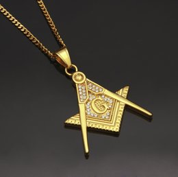 $enCountryForm.capitalKeyWord Australia - Hip Hop Bling Diamond Mens Gold Freemasonry AG Symbol Pendant Chain Necklace Stainless Steel Chains Jewelry Gifts for Men Wholesale for Sale