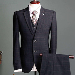 British Slim Fit Suits NZ - 2019 Wedding Tuxedos Black Check Slim Fit Men's Suits Formal British Plaid Groom Tuxedos Custom Made Jacket Pants Vest