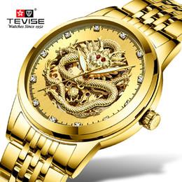 8817bc21df2b Relojes mecánicos Relojes de pulsera para hombre Relojes de primeras marcas  Tevise Business Gold Dragon Sculpture Reloj mecánico Mujeres Acero .