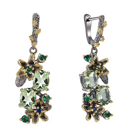 Wholesale Beautiful Dangle Earrings Light Oval Green Cubic Zirconia Stones Flower Leaf Jewellery Black Gold color Jewelry Drop earring