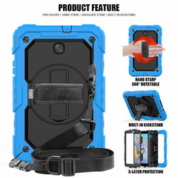 heavy pens 2019 - For Samsung Galaxy Tab A 8.0 T387 SM-T387 2018 Heavy Duty Protective with Hand Strap+Shoulder Strap +360 Rotating Kickst