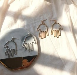 Gold Tungsten Alloy Australia - Unique Design Simple Silver Gold Drop Earrings For Women Palm Face Earrings 2019 Trendy Fashion Bohemian Jewelry Pendientes