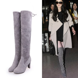 deb45cd555e 2018 Hot Women Over the Knee Boots High Heels Spring Autumn Pointed Toe Denim  Boots Fashion Tight High Jeans Boots