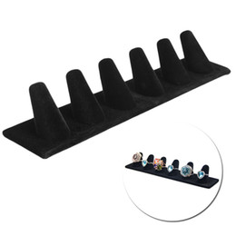 Rings Showcase Australia - Six-Finger Tip Mountain Jewelry Ring Display Velvet Jewelry Ring Display Stand Holder Showcase Organizer Black