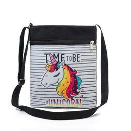 $enCountryForm.capitalKeyWord UK - Miyahouse Fashion Unicorn Printed Mini Shoulder Bag Colorful Small Crossbody Travel Bag Double Zipper Messenger Bag For Girls