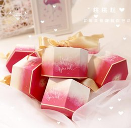 Cherry ChoColate online shopping - 100Pcs Gradient Cherry pink quot You are special quot Hexagonal Style Wedding Favors Candy Boxes Bomboniera Party Chocolate Gift Box