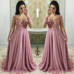 mother bride lace dresses ruffles Australia - Dusty Pink Mother Of The Bride Dresses With Long Sleeves Sheer Jewel Neck Wedding Guest Dress Chiffon Lace Plus Size Evening Gowns