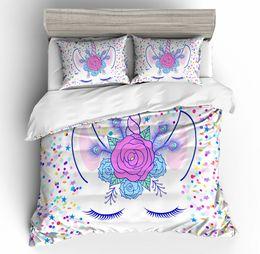 $enCountryForm.capitalKeyWord UK - Candy Colors Unicorn Bedding Set King Size Flower Fresh Duvet Cover Queen Home Textile Single Double Bed Set With Pillowcase 3pcs