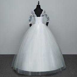 Army Wedding Dresses Australia - Appliques Wedding Dresses Hot Sale Elegant Princess Adjust Lace Three Quarter Sleeve Bridal Gowns Vestidos De Noiva