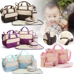 BaBy diaper handBags online shopping - 5pcs Mummy Multifunctional Bag Diaper Separate Shoulder Bag Maternity Nappy Handbag Baby Tote Organizer Bottle Storage Bag MMA1287