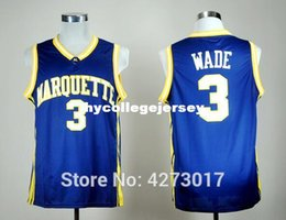 Discount mens basketball jerseys - Mens #3 Dwayne Wade College Marquette Golden Eagles Basketball Jersey All Size Embroidery Stitched Size S-XXL Ncaa