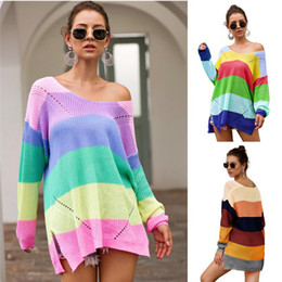 Wholesale rainbow knit sweater resale online – Knitted Women Sweater Hoodies Rainbow Patchwork Sweatshirt Autumn Long Sleeve Sweaters Pullover Loose Sweatshirts Knitting Blouse Tops S XL
