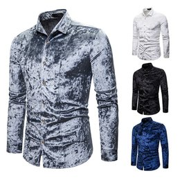 xxl mens luxury casual shirts Australia - Spring Autumn Chemise Homme Mens Shirts Casual Slim Fit Luxury Solid Color Diamond Velvet Slim Long Sleeve Social Shirts S-XXL J190785