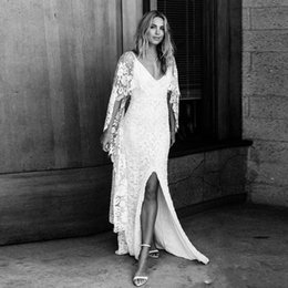 Sheath Wedding Dresses Split Australia - 2019 Sexy Summer Bohemian Sheath Wedding Dresses with Wrap Side Split Boho Bridal Gowns Tulle Lace Floor Length