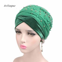 $enCountryForm.capitalKeyWord Australia - Helisopus Women's New Luxury Velvet Mesh Beaded Cap Women Hair Accessories Chemo Bandana Ladies Headwear Beanie Hijab Turban