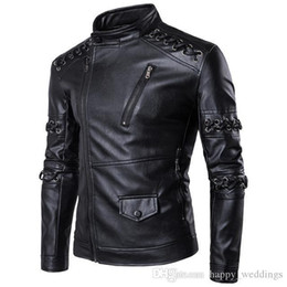 $enCountryForm.capitalKeyWord Australia - Autumn Male Leather Jacket Bandage Long Sleeve Motorcycle Jacket Men Personality Pu Coat Plus Size M-5xl Jaqueta Motoqueiro