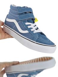 "Blue Green Canvas Shoes Australia - 2019 new designer shoes ""VAN SK8-HI V Classic high top vulcanized canvas casual skate board shoes Olive deep green night blue """